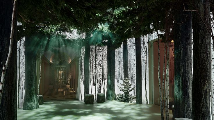 Jony Ive and Marc Newson's Claridge hotel installation features the entrance to the hotel lined with four-metre-high light boxes that glow with black and white photographs of snow-covered silver birch trees.