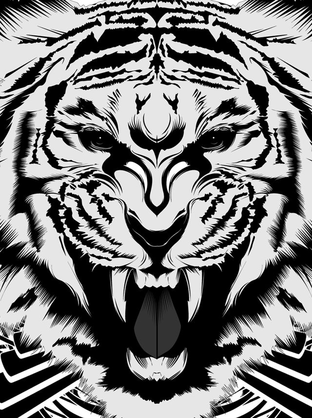 tiger vector illustration, fierce. illustrated by inocuo the sign