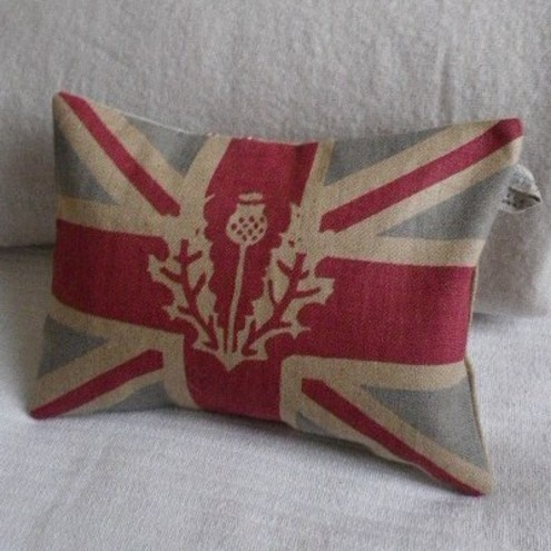 hand printed rustic union jack flag cushion with thistle overlay £31.00