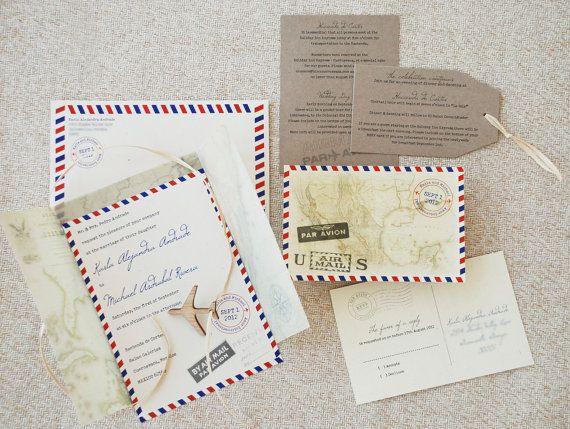 Vintage Air Mail Invitation de mariage Destination par beyonddesign