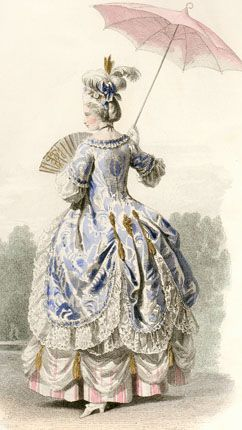 1715 French Court dress - actually it is probably a walking dress from about 1775.