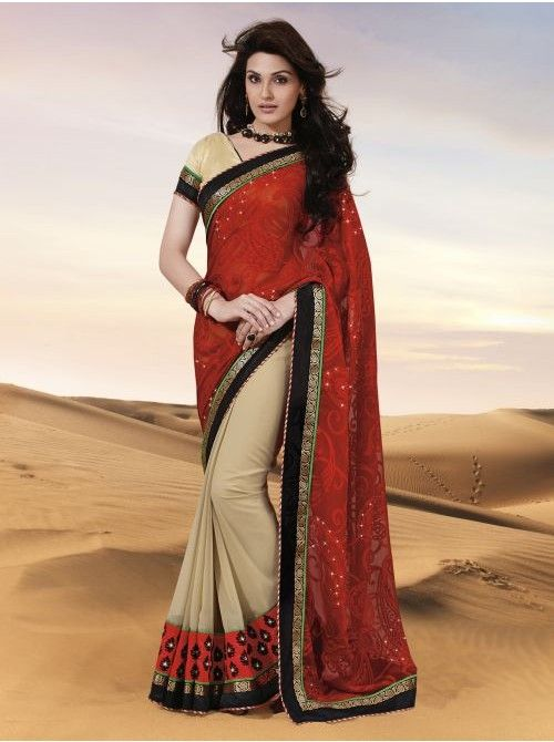 Red and Chickoo Brasso Half and Half Saree #BuyHalfandHalfSaree #Red #Saree