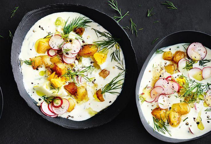 Kalte Buttermilchsuppe mit Braterdäpfeln Foto: © Thorsten Suedfels