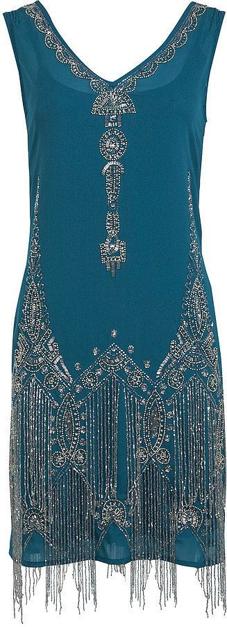 Miss Selfridge teal flapper dress (£170)