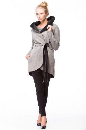 Wiązany płaszcz z kapturem-szary/czarny