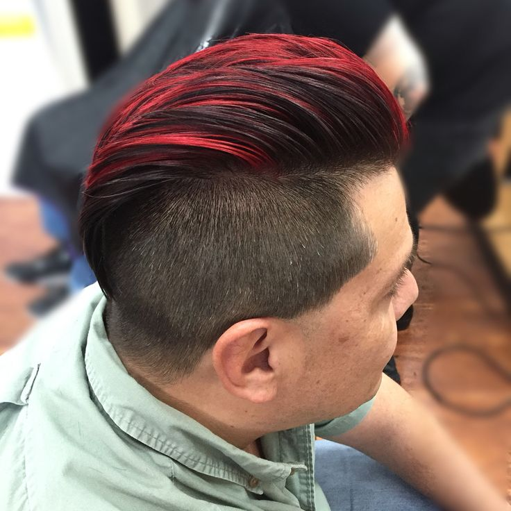 Pravana Red Mohawk Bright Colored Hair Mens Cut By Mel At