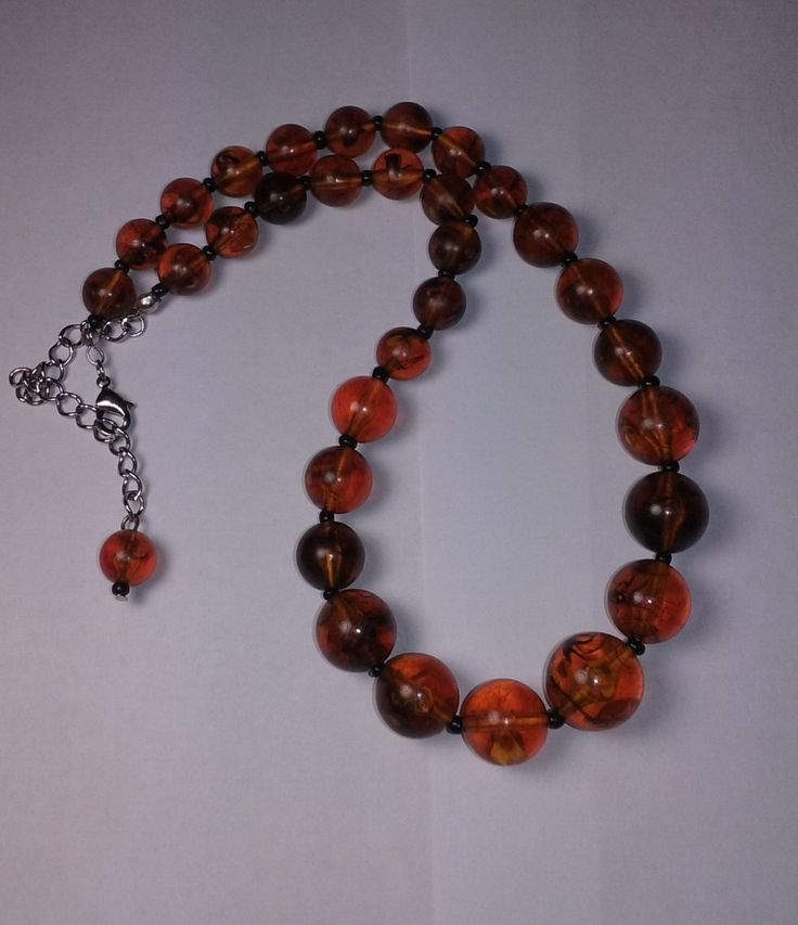 Vintage Amber Lucite Beaded Necklace and earrings by Oliviarosestone on Etsy