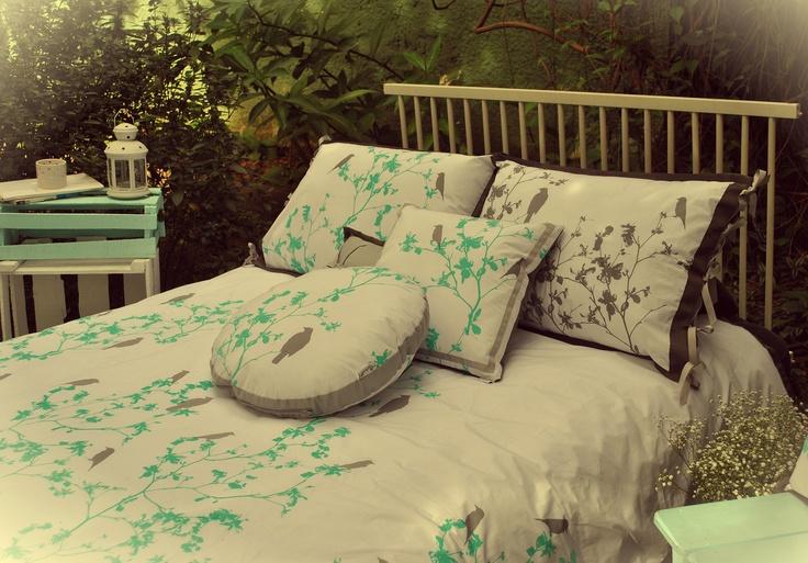 """Hagakure Hogar   Set Duvet Cover  Estampado a Mano  Diseño """"Sueño de Pajaros"""""""