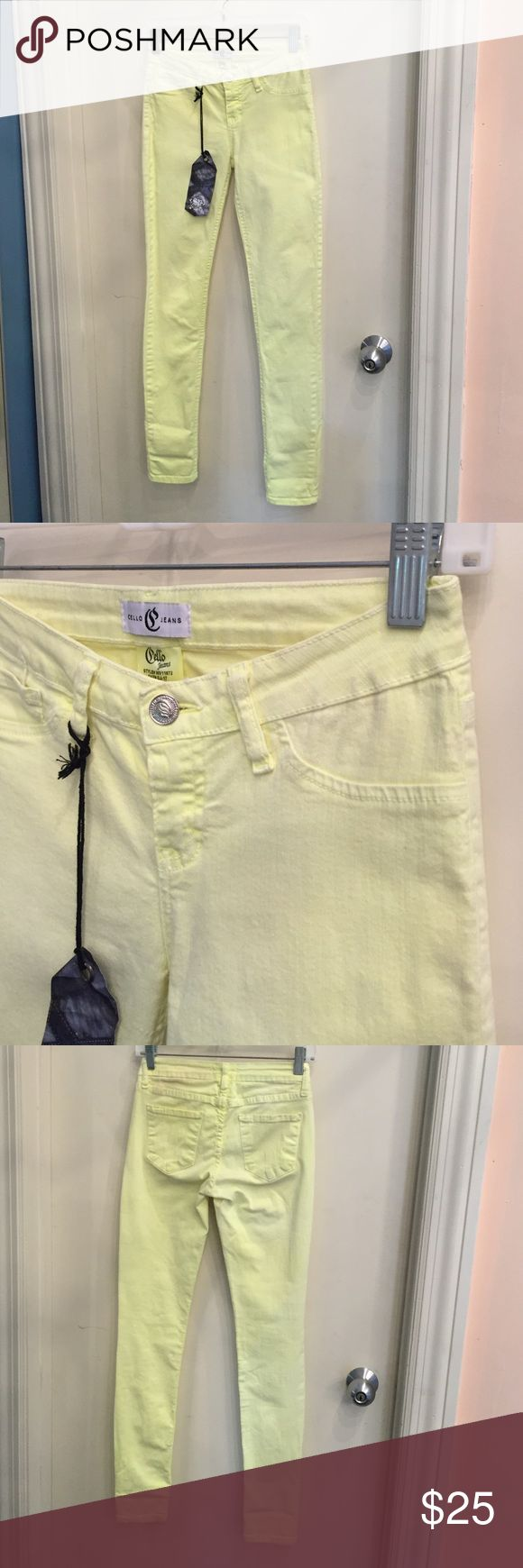 yellow Skinny  jeans Neon yellow, spandex like material. Cello jeans Jeans Skinny