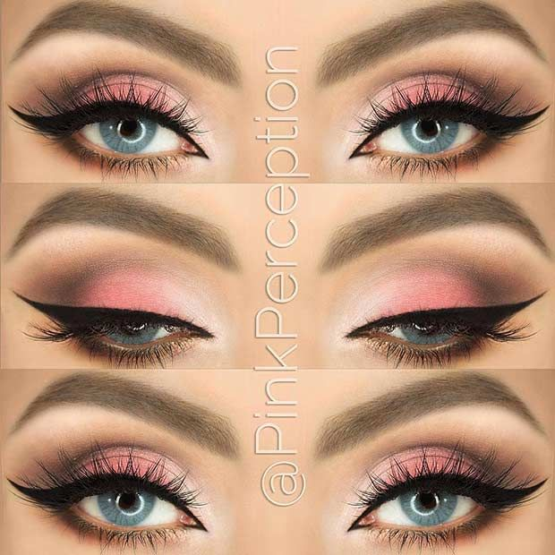 Pink Smokey Eye Look for Blue Eyes