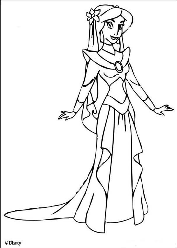 coloring page about aladdin disney movie drawing about the beautiful princess jasmine in a ballgown