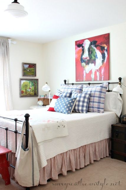 All american summer guest room american patriotic for French farmhouse bed
