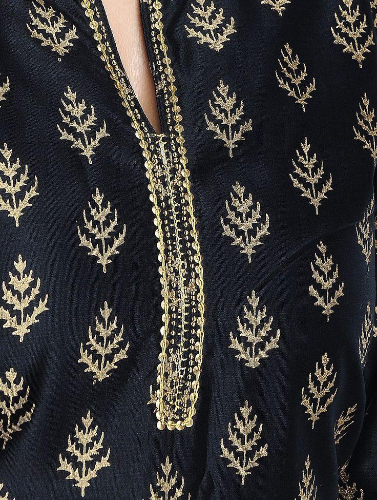 Buy Black Golden Khari Hand Block Printed & Embellished Silk Chanderi Kurta Online at Jaypore.com