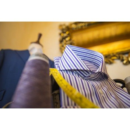De Luca Sartoria,VR, STELLA White/grey/violet stripped Luxury cotton shirt. Made in Italy. Shop it here: http://www.delucasartoria.it/shop/en/shirts/63-stella-whitegreyviolet-stripped-luxury-cotton-shirt-men-personalised-shirt-made-to-italy.html