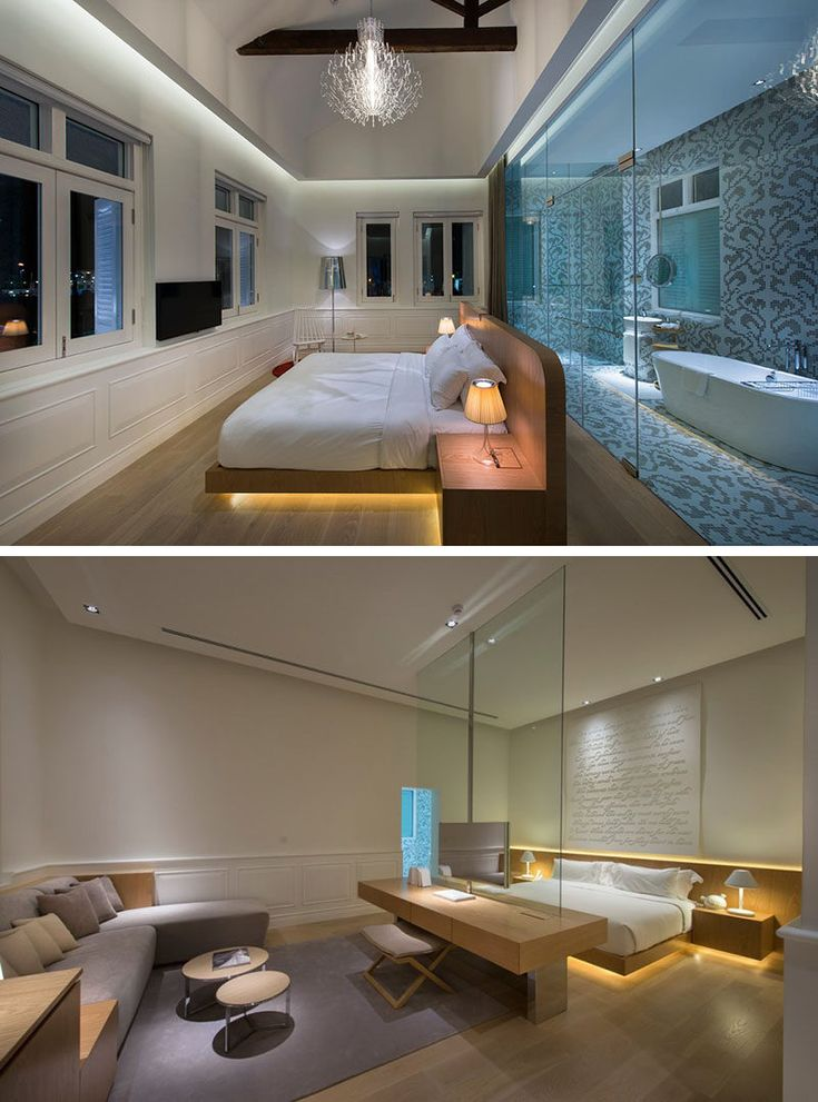 9 Bedrooms With Beds That Feature Hidden Lighting // Here's another hotel,  this time
