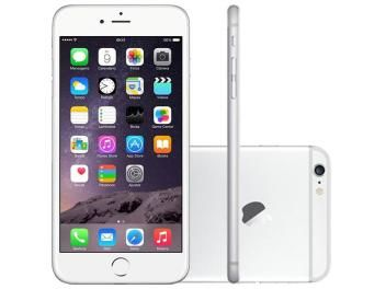 "iPhone 6 Plus Apple 64GB 4G iOS 8 Tela 5.5"" - Câm. 8MP Proc. A8 Touch ID Wi-Fi GPS NFC Prata"