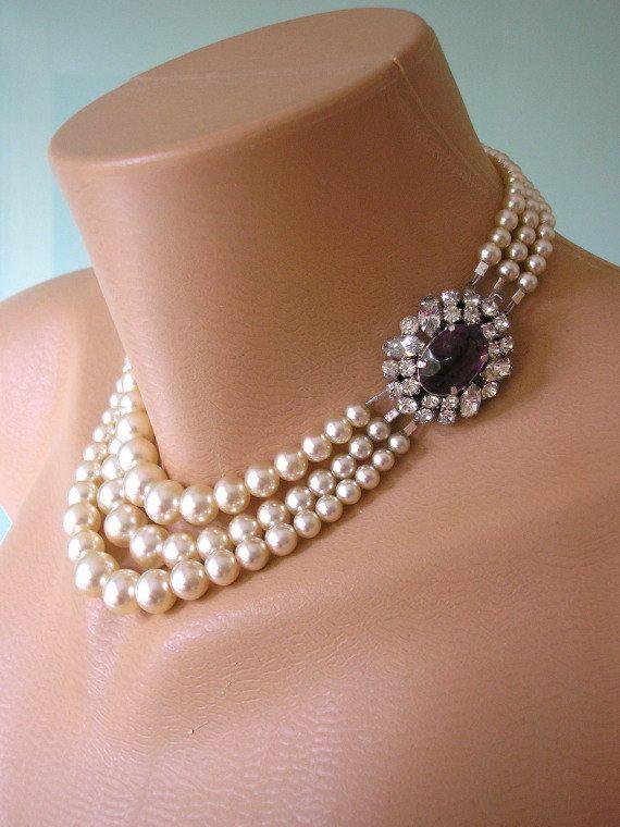 Pearl Necklace, Great Gatsby Jewelry, Art Deco Wedding Necklace, Pearl Choker, Statement Necklace, Bridal Jewelry, Purple Rhinestone Choker