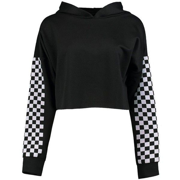 Boohoo Kadee Checkerboard Print Crop Hoody (305 ARS) ❤ liked on Polyvore featuring tops, hoodies, hoodie crop top, cropped hoodie, hooded pullover, print crop tops and patterned hoody