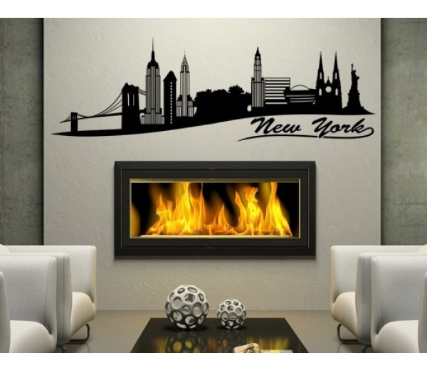 Best Quality Vinyl Wall Sticker Decals - New York 2 ( Size: x - Color:  light blue ) - No: 1328