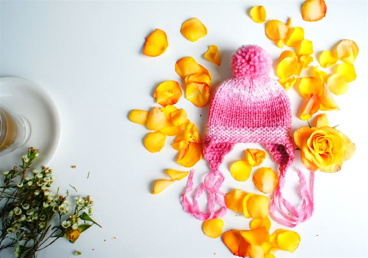 PETIT MORICZ Bebe: Rose Pom Pom Newborn Baby Girl Hat with a Cotton
