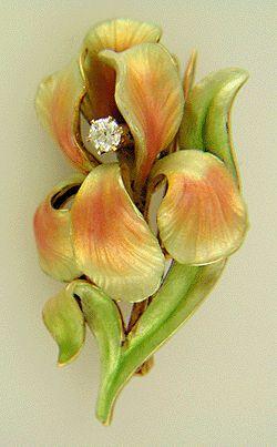 Art Nouveau iris brooch with Old European-cut diamond. (J6533)