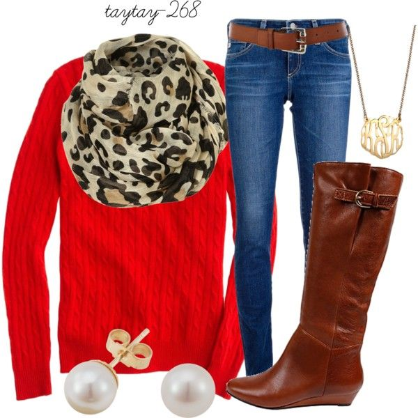Casual OutfitRed Sweaters, Leopard Scarf, Leopards Scarf, Casual Outfit With Brown Boots, Fall Outfits, Leopards Prints, Animal Prints, Casual Outfits, Leopard Prints
