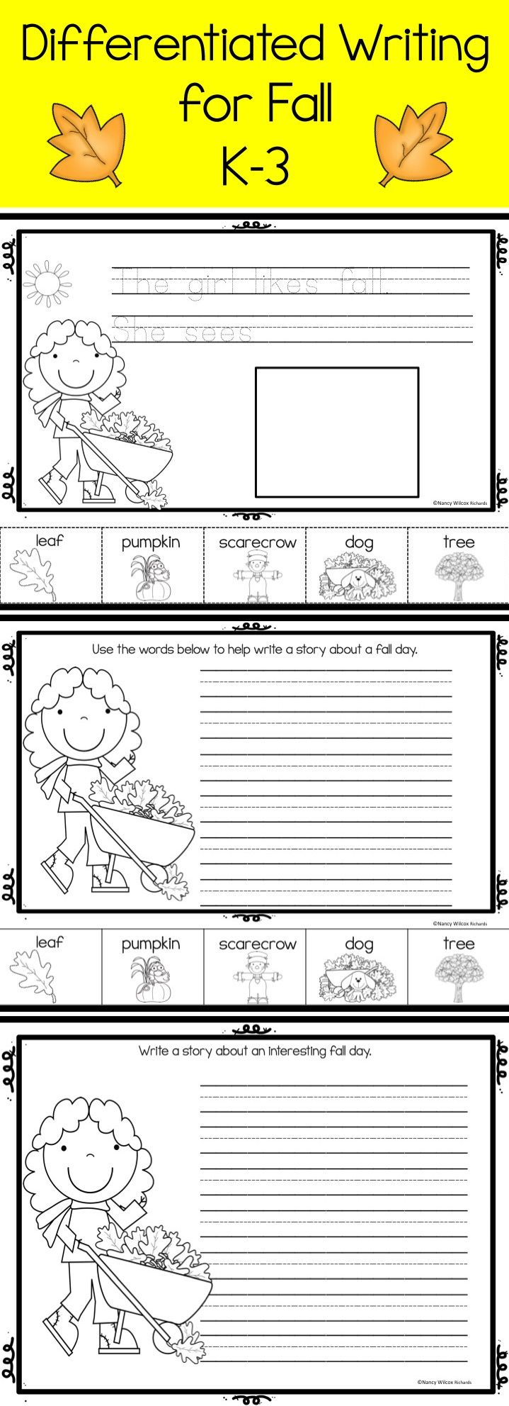 Writing activities for fall ... great for beginning writers!