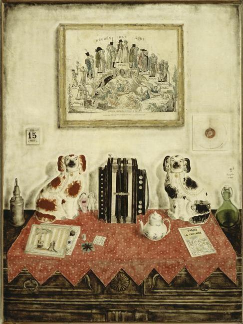 "Tsugouharu Foujita レオナールフジタ ""Mon interieur, nature morte a l'accordeon""「私の部屋、アコーデオンのある静物」oil on canvas,1922 パリ、ポンピドゥセンター蔵"