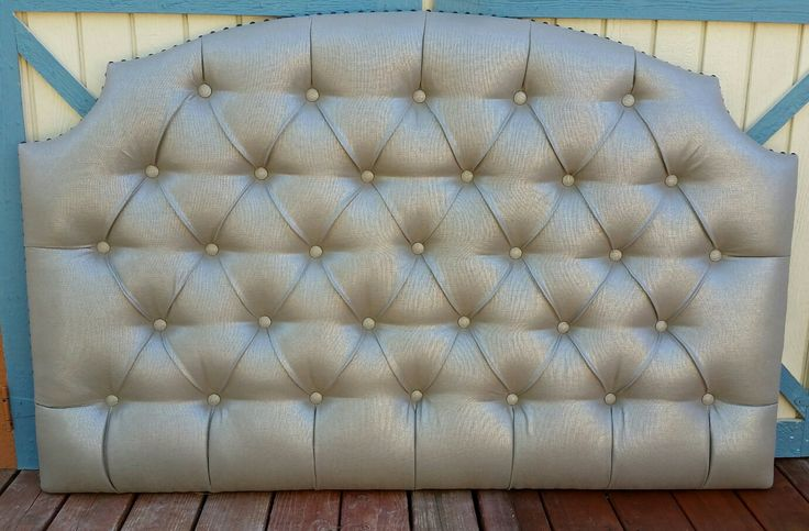 Queen taupe neutral metallic tufted upholstered headboard custom wall mounted