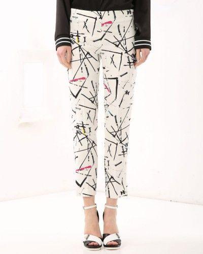 Abstract print Capri pants