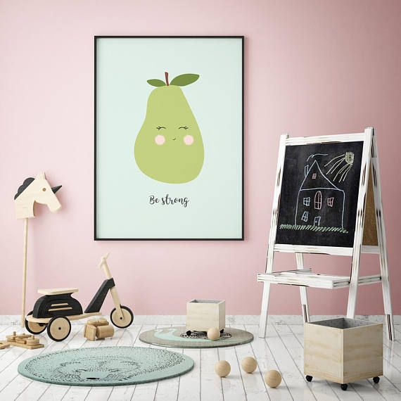 Pear Print Print Nursery Baby Quote Fruits Poster Be