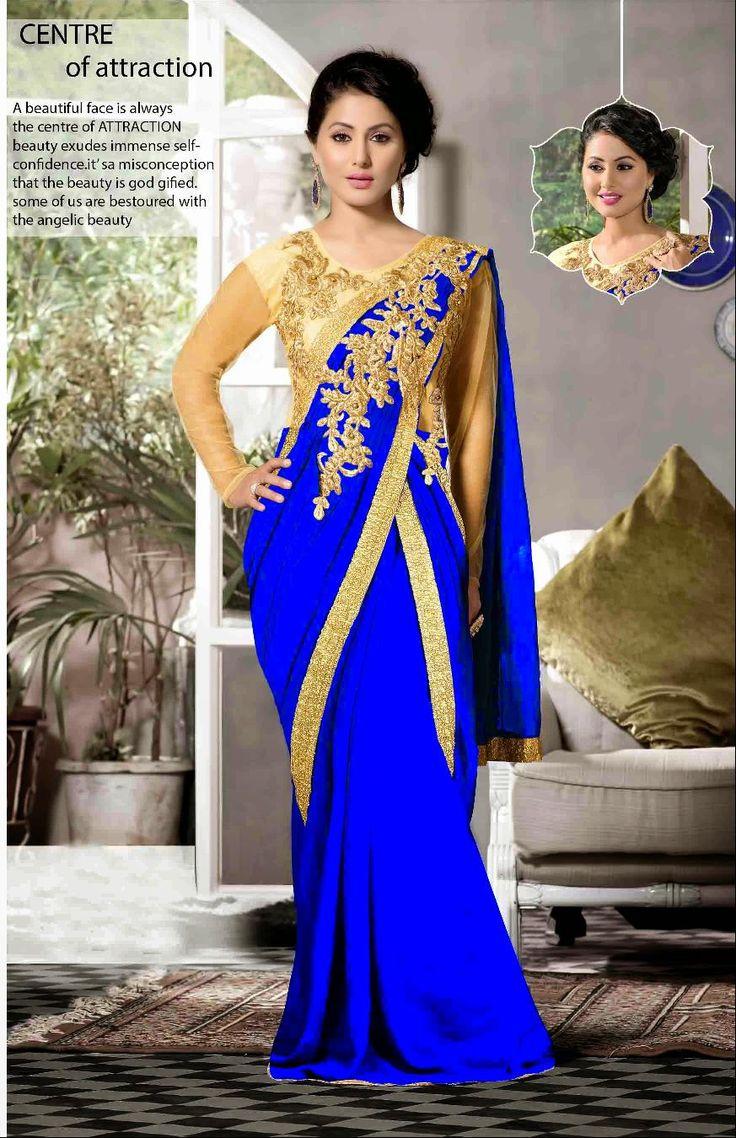 #YRKKH #HeenaKhan #Akshara #SemiStitched #GeorgetteSaree with #ZariWork #DesignerSaree #WeddingSaree(Catalog - heenakhan-cat226)