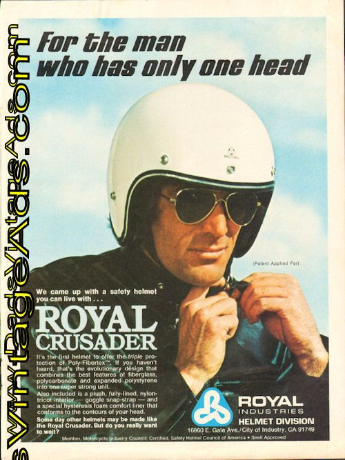 1974 Royal Crusader motorcycle safety helmet – For the man who has only one head