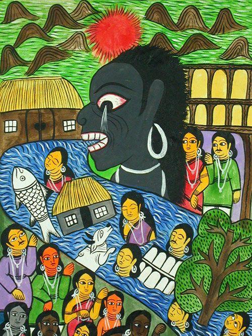Tsunami - Bengali Scroll Paintings, Chitraker - Indigo Arts Gallery | Art from Asia | Indian Folk Painting 2c