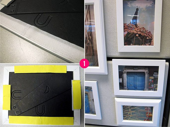 Great idea for your cubicle - use velcro on picture frames to decorate your cube walls with pieces that inspire you.