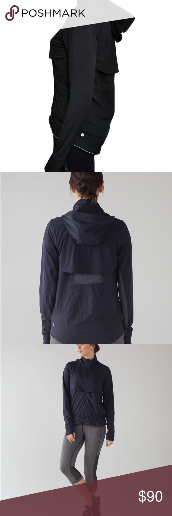 Lululemon Kicking Asphalt Jacket in midnight navy Excellent cond. no perceivable flaws, like new, Go the distance with Lululemon. Womens. Running jacket. Lightweight Spacer fabric is sweat-wicking for a cool and dry feeling. Added Lycra fibre allows for great stretch and shape retention. Strategically placed venting for additional airflow. Reflective detailing keeps you visible in low light. lululemon athletica Jackets & Coats