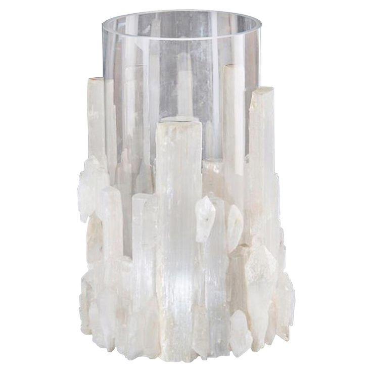 Ginny Coastal Modern White Selenite Crystal Glass Candleholder | Kathy Kuo Home