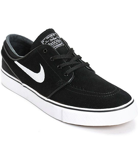nike sb zoom stefan janoski black white skate shoes