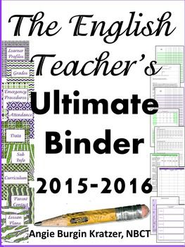 SEE ALL OF ANGIE'S TEACHER BINDERS HERE!These dividers and forms are designed for a high school English teacher. Pick out your favorite binder, print, punch some holes, and youre ready to start the 2015-2016 school year in a way that organizes everything from your parent contacts to your benchmark data.