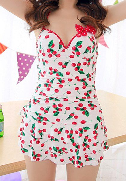 Sexy Halter Printed Bowknot Embellished One-Piece Women's Swimwear