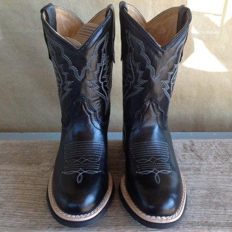 Texas Gold Minors Black Round Toe Kids Cowboy Boots