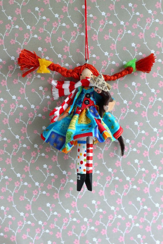 Pipi Longstocking Clothespin Doll