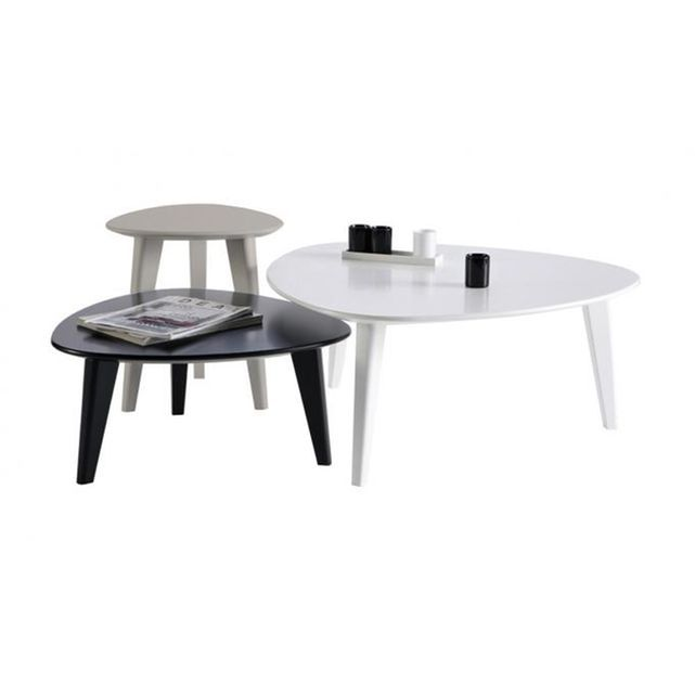 Set De 3 Tables Basses Scandinaves Stone Table Basse Blanc Table Basse Table Basse Scandinave