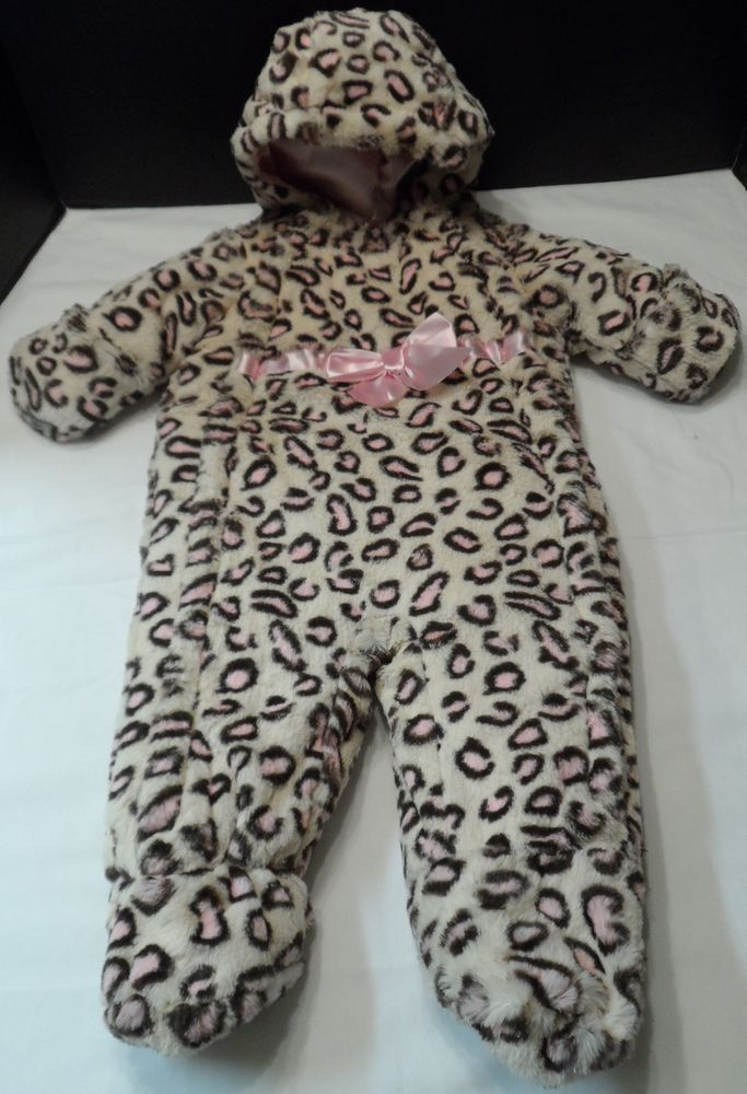Baby Bunting Pistachio Leopard Print Hooded Lined Infant Girls seasonal 6-9 mo. #Pistachio #Bunting #DressyEverydayHoliday