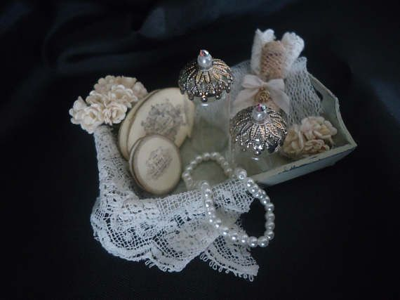 Accessorized shabby chic tray  1/12th scale.