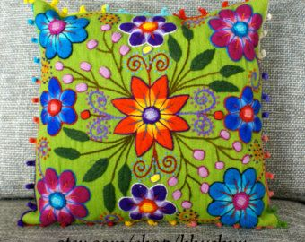 Back In stock Peruvian Pillow covers Hand embroidered by khuskuy