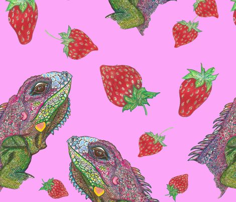 pink iguana kisses fabric by rosy_lees on Spoonflower - custom fabric