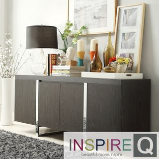 INSPIRE Q Buona Dark Grey Brown Metal Band Sideboard Storage Buffet Server By