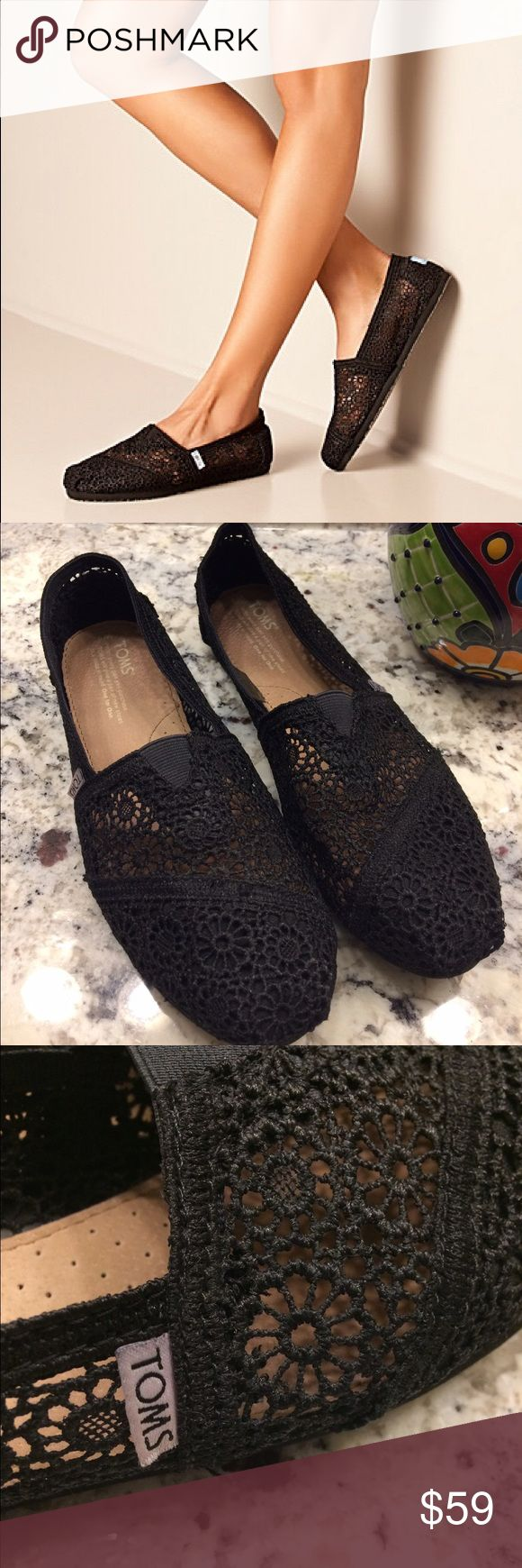 Crocheted Black TOMS Stay light on your feet in these Classics! Featuring a crocheted upper and more cushioning than ever, these slip-ons will be a warm-weather favorite. Worn once to run an errand. *Trying to Make Back Some of What I Paid but still Open to Reasonable Offers* TOMS Shoes