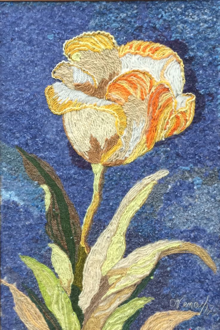 Flor Amarilla Homenaje a autor desconocido Elaborado por Helena Duque Del Taller de Collage en Lana